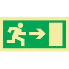 Sinal de evacuação, saída para a direita.
