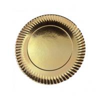 Prato de Cartão Dourado nº7 31.5cm Emb. com 100 Un.