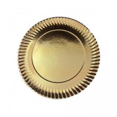 Prato de Cartão Dourado nº4 23.5cm Emb. com 100 Un.